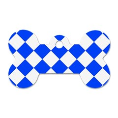Blue White Diamonds Seamless Dog Tag Bone (one Side)
