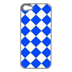 Blue White Diamonds Seamless Apple Iphone 5 Case (silver)