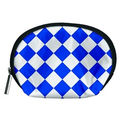 Blue White Diamonds Seamless Accessory Pouches (medium)