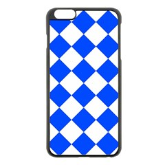 Blue White Diamonds Seamless Apple Iphone 6 Plus/6s Plus Black Enamel Case