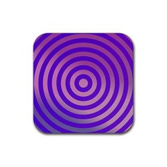Circle Target Focus Concentric Rubber Square Coaster (4 Pack)