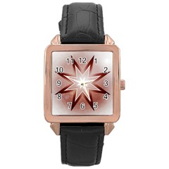 Star Christmas Festival Decoration Rose Gold Leather Watch