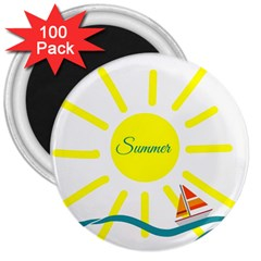 Summer Beach Holiday Holidays Sun 3  Magnets (100 Pack)