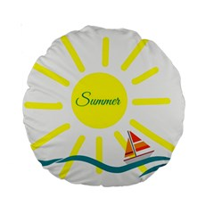 Summer Beach Holiday Holidays Sun Standard 15  Premium Round Cushions