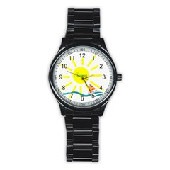 Summer Beach Holiday Holidays Sun Stainless Steel Round Watch