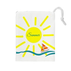 Summer Beach Holiday Holidays Sun Drawstring Pouches (large)