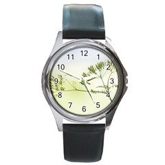 Spring Plant Nature Blue Green Round Metal Watch