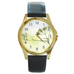 Spring Plant Nature Blue Green Round Gold Metal Watch