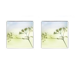 Spring Plant Nature Blue Green Cufflinks (square)
