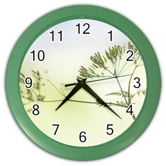 Spring Plant Nature Blue Green Color Wall Clocks