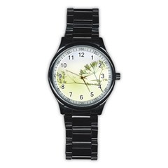 Spring Plant Nature Blue Green Stainless Steel Round Watch