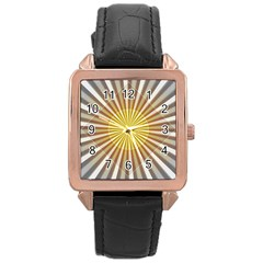 Abstract Art Modern Abstract Rose Gold Leather Watch
