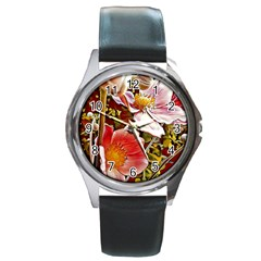 Flower Hostanamone Drawing Plant Round Metal Watch
