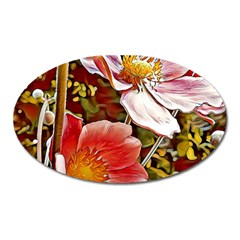 Flower Hostanamone Drawing Plant Oval Magnet