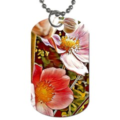 Flower Hostanamone Drawing Plant Dog Tag (two Sides)