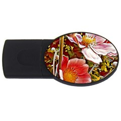 Flower Hostanamone Drawing Plant Usb Flash Drive Oval (4 Gb)