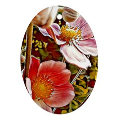 Flower Hostanamone Drawing Plant Oval Ornament (two Sides)