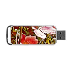 Flower Hostanamone Drawing Plant Portable Usb Flash (one Side)