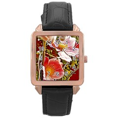 Flower Hostanamone Drawing Plant Rose Gold Leather Watch