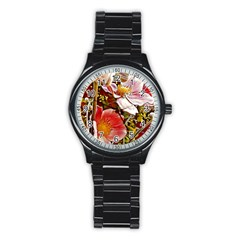 Flower Hostanamone Drawing Plant Stainless Steel Round Watch