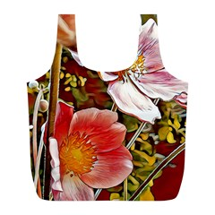 Flower Hostanamone Drawing Plant Full Print Recycle Bags (l)
