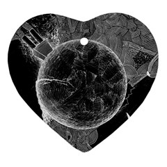 Space Universe Earth Rocket Heart Ornament (two Sides)
