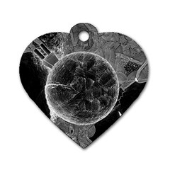 Space Universe Earth Rocket Dog Tag Heart (two Sides)