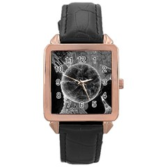 Space Universe Earth Rocket Rose Gold Leather Watch