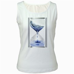 Time Water Movement Drop Of Water Women s White Tank Top