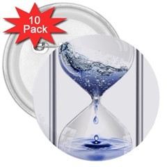 Time Water Movement Drop Of Water 3  Buttons (10 Pack)