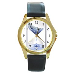 Time Water Movement Drop Of Water Round Gold Metal Watch