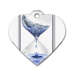 Time Water Movement Drop Of Water Dog Tag Heart (two Sides)