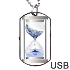 Time Water Movement Drop Of Water Dog Tag Usb Flash (one Side)
