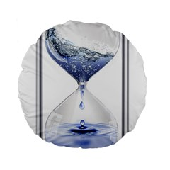 Time Water Movement Drop Of Water Standard 15  Premium Round Cushions
