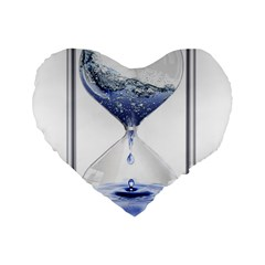 Time Water Movement Drop Of Water Standard 16  Premium Flano Heart Shape Cushions