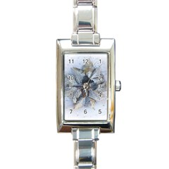 Winter Frost Ice Sheet Leaves Rectangle Italian Charm Watch