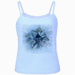 Winter Frost Ice Sheet Leaves Baby Blue Spaghetti Tank