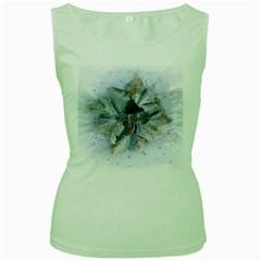Winter Frost Ice Sheet Leaves Women s Green Tank Top