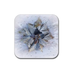 Winter Frost Ice Sheet Leaves Rubber Coaster (square)