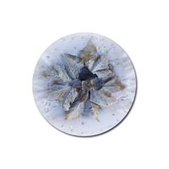 Winter Frost Ice Sheet Leaves Rubber Coaster (round)