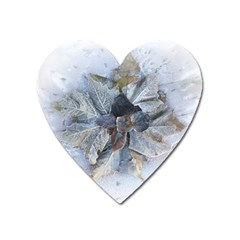 Winter Frost Ice Sheet Leaves Heart Magnet