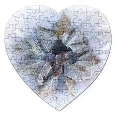 Winter Frost Ice Sheet Leaves Jigsaw Puzzle (heart)