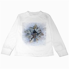 Winter Frost Ice Sheet Leaves Kids Long Sleeve T Shirts