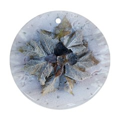 Winter Frost Ice Sheet Leaves Round Ornament (two Sides)