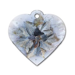 Winter Frost Ice Sheet Leaves Dog Tag Heart (one Side)
