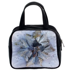 Winter Frost Ice Sheet Leaves Classic Handbags (2 Sides)