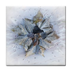 Winter Frost Ice Sheet Leaves Face Towel