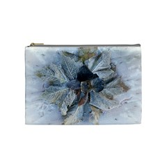 Winter Frost Ice Sheet Leaves Cosmetic Bag (medium)