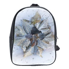 Winter Frost Ice Sheet Leaves School Bag (large)