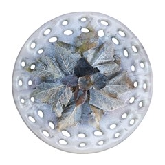 Winter Frost Ice Sheet Leaves Ornament (round Filigree)